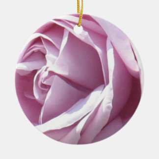 Pink rose macro photography round ceramic decoration