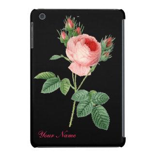 Pink rose vintage botanical illustration on black iPad mini covers