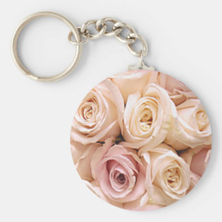 PINK ROSES by SHARON SHARPE Basic Round Button Key Ring