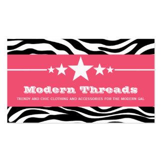 Pink Sassy Star Zebra Print Business Card