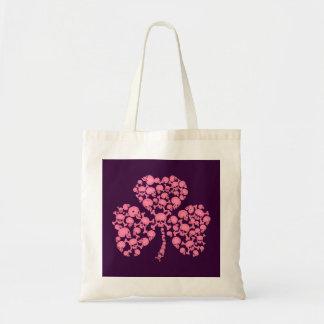 Pink Shamrock Skulls Budget Tote Bag