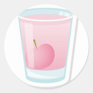 Pink shot with cherry round sticker