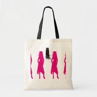 Pink Silhouettes Tassle Graduation Budget Tote Bag