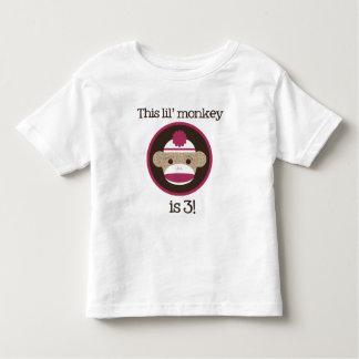 Pink Sock Monkey: Third Birthday Toddler T-Shirt