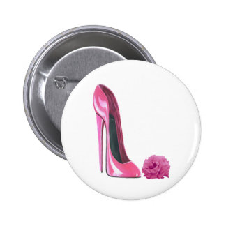 Pink Stiletto Shoe and Pink Rose Art 6 Cm Round Badge