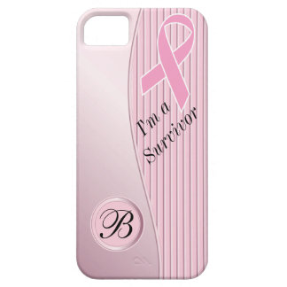 Pink Stripes Breast Cancer Survivor   DIY Monogram Barely There iPhone 5 Case