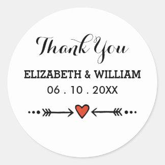 Pink Sweethearts Arrows On White Wedding Thank You Round Sticker
