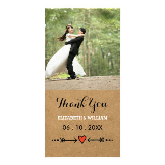 Pink Sweethearts & Arrows Rustic Wedding Thank You Photo Greeting Card