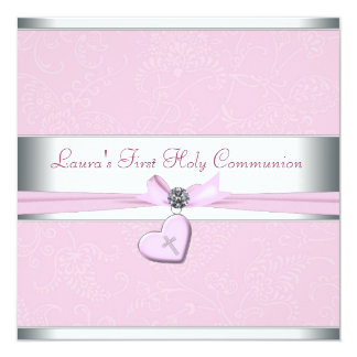 Pink Swirl Heart Pink Cross First Communion 13 Cm X 13 Cm Square Invitation Card