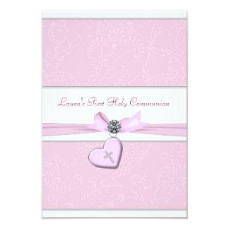 Pink Swirl Heart Pink Cross First Communion 9 Cm X 13 Cm Invitation Card