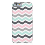 Pink Teal Black Grey Zigzag Chevron Pattern Barely There iPhone 6 Case