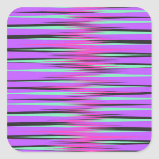 Pink, Teal, Black, & Purple Stripes Square Sticker