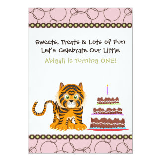 Pink Tiger First Birthday Invitation for Girls