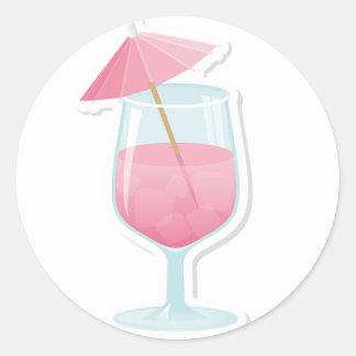 Pink Tropical Cocktail Round Sticker