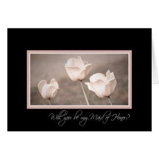 Pink Tulips Photo Maid of Honor Invitation Card