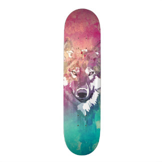 Pink Turquoise Watercolor Artistic Abstract Wolf 19.7 Cm Skateboard Deck