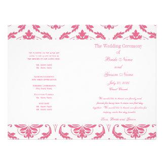 Pink Vintage Damask Wedding Program 21.5 Cm X 28 Cm Flyer