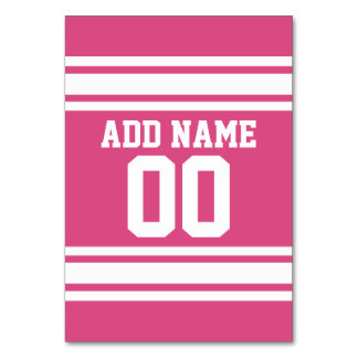 Pink White Football Jersey Custom Name Number Table Card