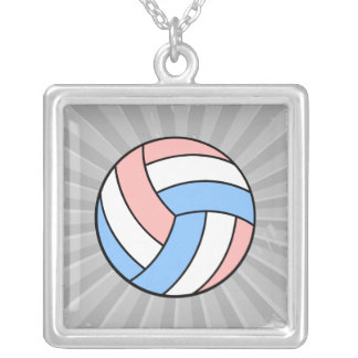 pink white pastel blue volleyball square pendant necklace