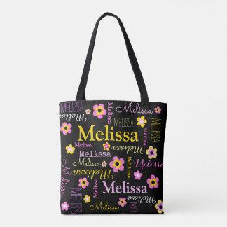 Pink yellow flower custom name Melissa tote bag