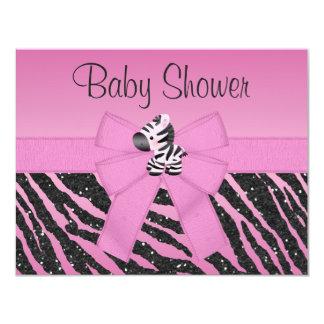Pink Zebra Printed Bow & Glitter Look Baby Shower 11 Cm X 14 Cm Invitation Card