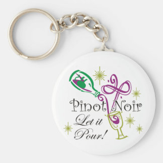 Pinot Noir, Let it Pour! Basic Round Button Key Ring