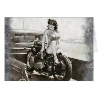 PINUP GIRL ON MOTORCYCLE. GREETING CARD