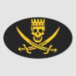 Pirate Crown oval sticker - pack of 20
