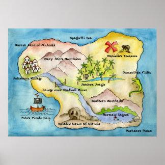 Pirate Map Print - Huge