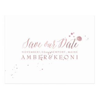 PixDezines Rose Gold/Brusth Script/Save our Date Postcard