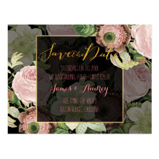 PixDezines save the date/vintage roses Postcard