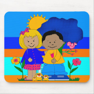 Placemat Girl Boy Best Friends At The Beach Mouse Pad