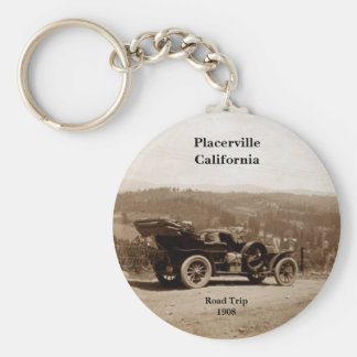 Placerville, California 1908 Road Trip Basic Round Button Key Ring