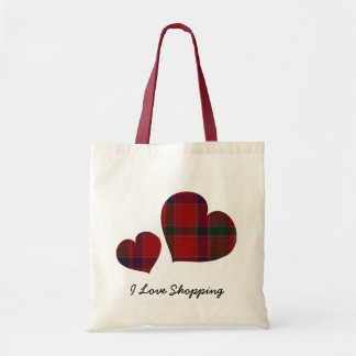 Plaid Hearts Tote Bag