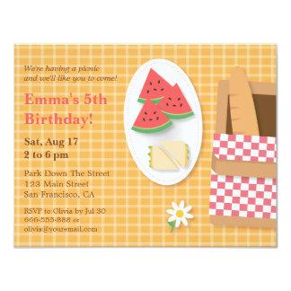 Plaid Pattern Picnic Birthday Party Invitations
