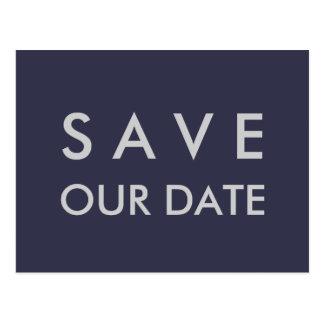Plain Navy Blue & Silver Save the Date Postcard