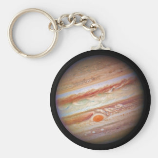 PLANET JUPITER ` red spot head on (solar system) ~ Basic Round Button Key Ring