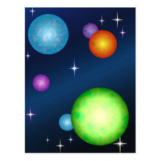 Planets Suns Stars Space Design Postcard