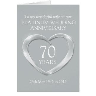 Platinum wedding anniversary wife card