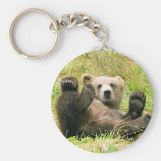 Playful Grizzly Bear Basic Round Button Key Ring
