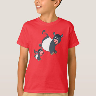 Playing Belted Galloway Cow & Calf Kids T-Shirt