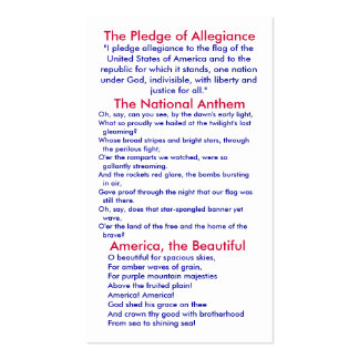 Pledge of Allegiance/ National Anthem/ America Pack Of Standard Business Cards