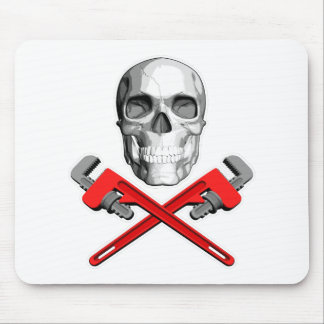 Plumber Skull: Crossed Wrenches Mouse Pad