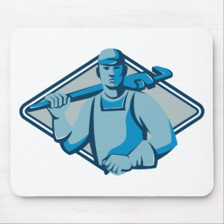 plumber worker monkey wrench retro mouse pad