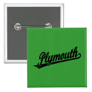Plymouth script logo in black 15 cm square badge