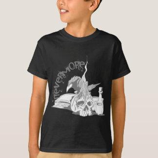 Poe Nevermore Raven Skull & Book Tshirts