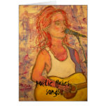 poetic lyrics & song girl art greeting card