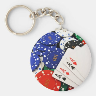 Poker Basic Round Button Key Ring
