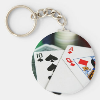 Poker Cards Basic Round Button Key Ring