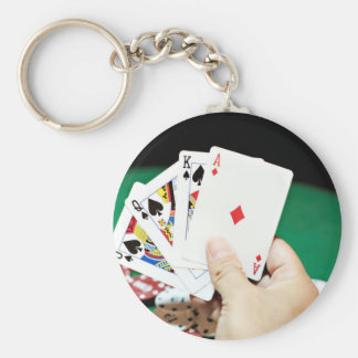 Poker good hand basic round button key ring